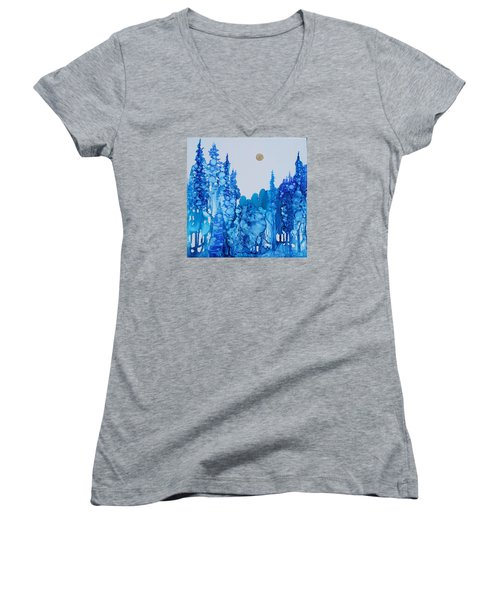 Blue Forest Women's V-Neck T-Shirt (Junior Cut) by Suzanne Canner