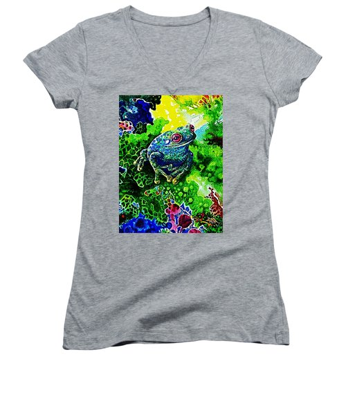 Blue  Frog Women's V-Neck T-Shirt (Junior Cut) by Hartmut Jager