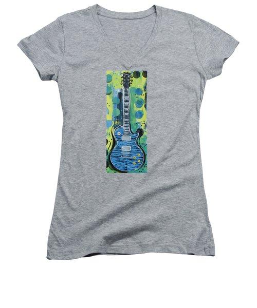 Blue Gibson Guitar Women's V-Neck
