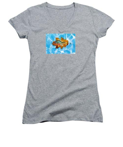 Blue Gill Women's V-Neck T-Shirt (Junior Cut) by Ralph Root
