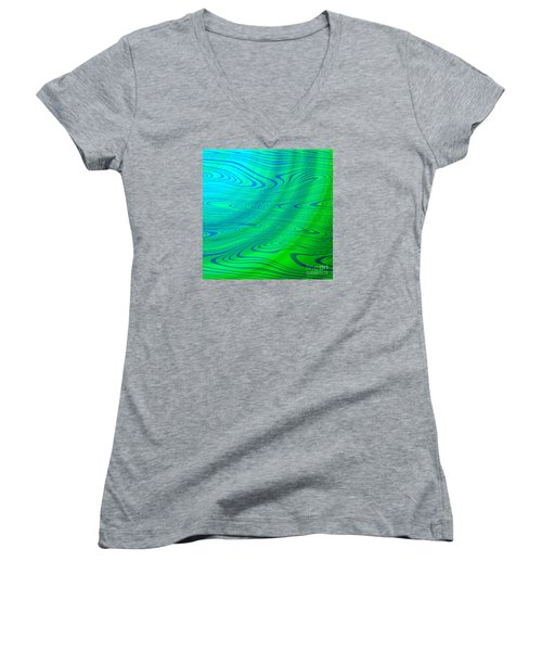 Blue Green Distort Abstract Women's V-Neck (Athletic Fit)