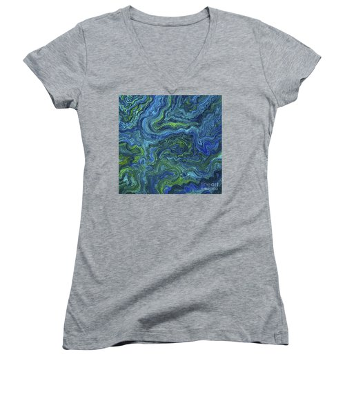 Blue Green Texture Women's V-Neck