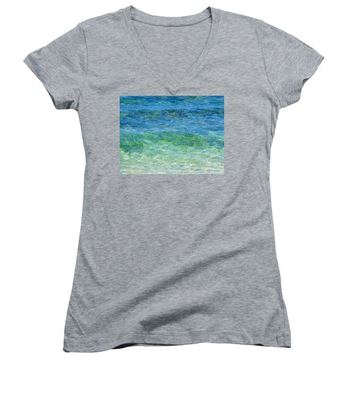Blue Green Waves Women's V-Neck