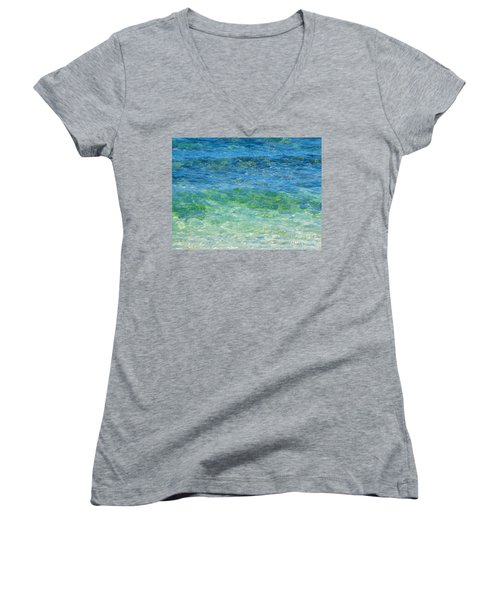Blue Green Waves Women's V-Neck (Athletic Fit)