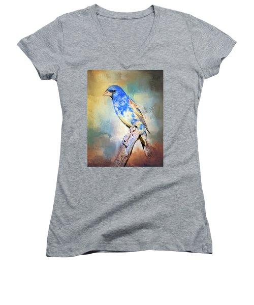 Blue Grosbeak Women's V-Neck T-Shirt