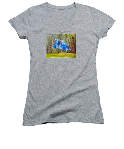 Blue Heron In Viera  Florida Women's V-Neck