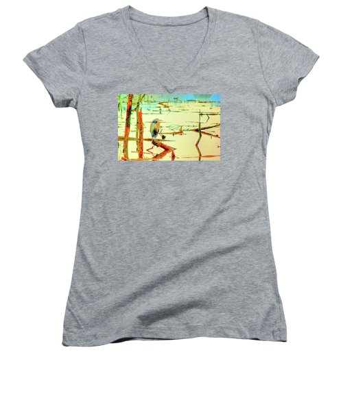 Blue Heron Women's V-Neck T-Shirt (Junior Cut) by Dale Stillman