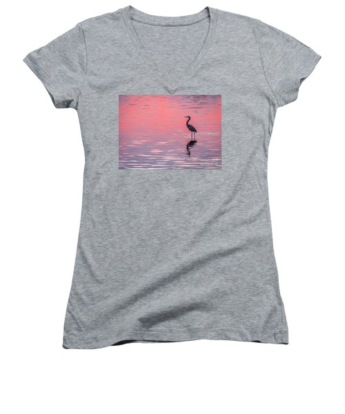 Blue Heron - Pink Water Women's V-Neck T-Shirt