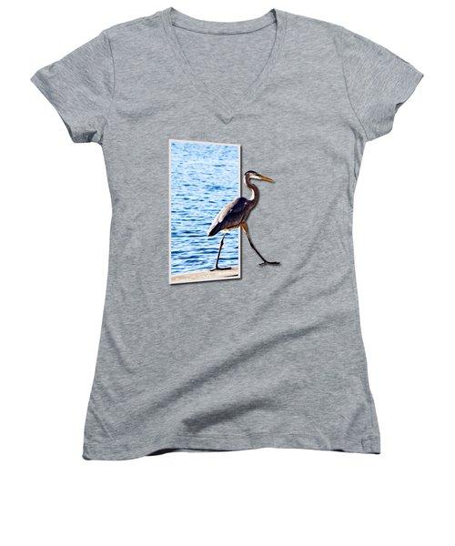 Blue Heron Strutting Out Of Frame Women's V-Neck T-Shirt (Junior Cut) by Roger Wedegis