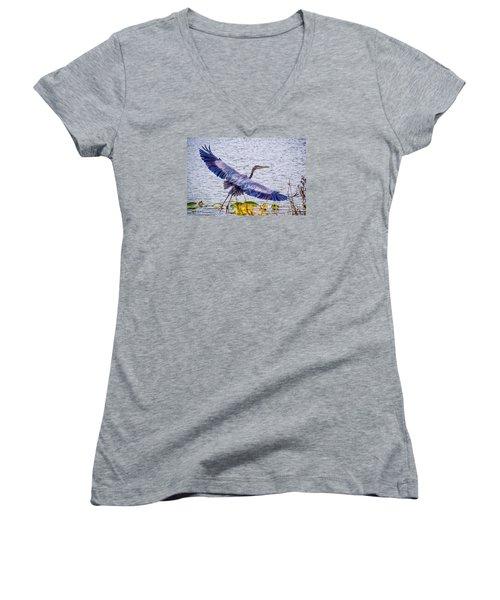 Blue Heron  Take Off  Women's V-Neck T-Shirt (Junior Cut) by Peggy Franz