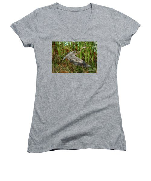 Blue Heron Take-off Women's V-Neck T-Shirt