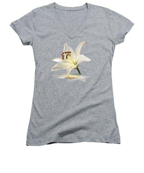 Blue Horizons - White Lily Women's V-Neck T-Shirt