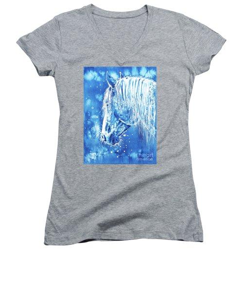 Women's V-Neck T-Shirt featuring the painting Blue Horse by Zaira Dzhaubaeva