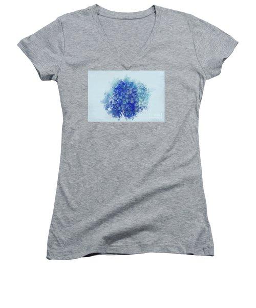 Blue Hortensia Women's V-Neck T-Shirt (Junior Cut) by Eva Lechner