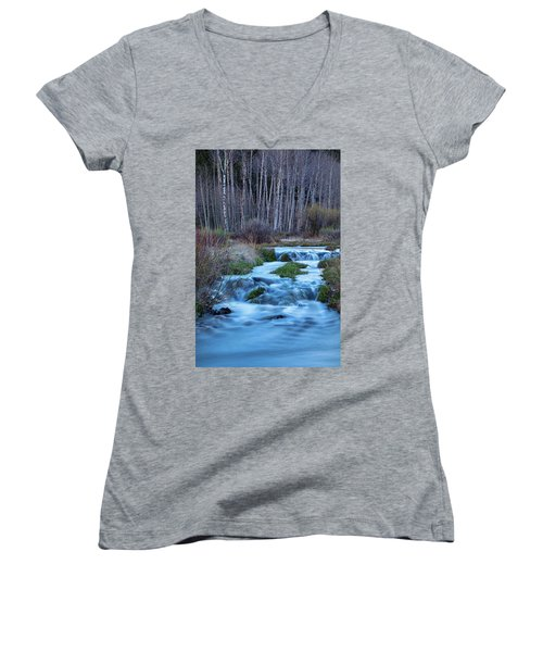 Blue Hour Streaming Women's V-Neck T-Shirt (Junior Cut) by James BO Insogna