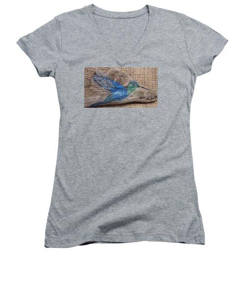 Blue Hummingbird Women's V-Neck T-Shirt (Junior Cut) by Ann Michelle Swadener
