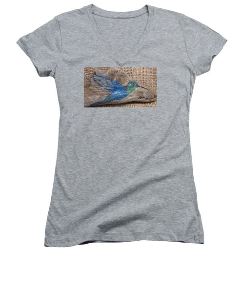 Blue Hummingbird Women's V-Neck (Athletic Fit)
