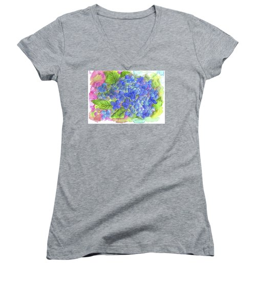 Women's V-Neck T-Shirt (Junior Cut) featuring the painting Blue Hydrangea by Cathie Richardson