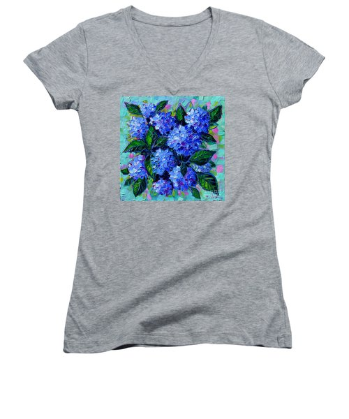 Blue Hydrangeas - Abstract Floral Composition Women's V-Neck (Athletic Fit)