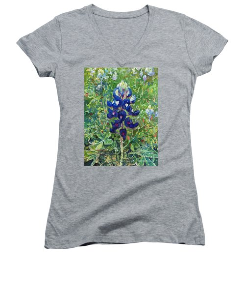 Women's V-Neck T-Shirt (Junior Cut) featuring the painting Blue In Bloom 2 by Hailey E Herrera
