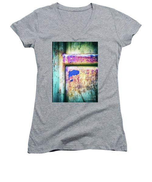 Women's V-Neck T-Shirt featuring the photograph Blue In Iron Door by Silvia Ganora