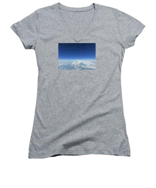 Blue In The Sky Women's V-Neck T-Shirt (Junior Cut) by AmaS Art