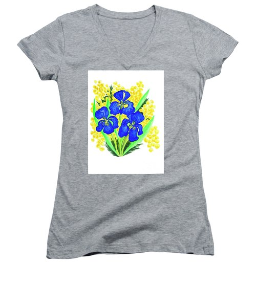 Blue Irises And Mimosa Women's V-Neck (Athletic Fit)