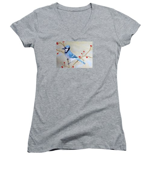 Blue Jay Women's V-Neck T-Shirt (Junior Cut) by Laurel Best