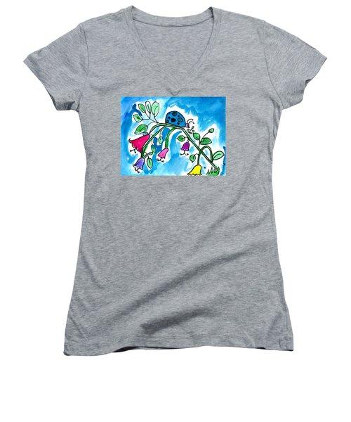 Blue Ladybug Women's V-Neck