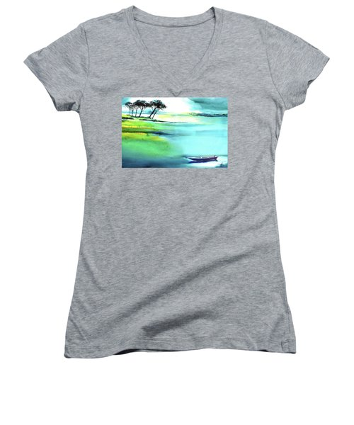 Women's V-Neck T-Shirt (Junior Cut) featuring the painting Blue Lagoon by Anil Nene