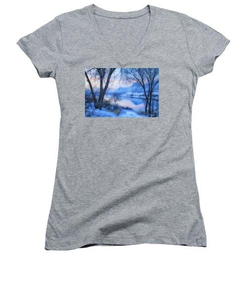 Blue Landscape Women's V-Neck T-Shirt (Junior Cut) by Theresa Tahara