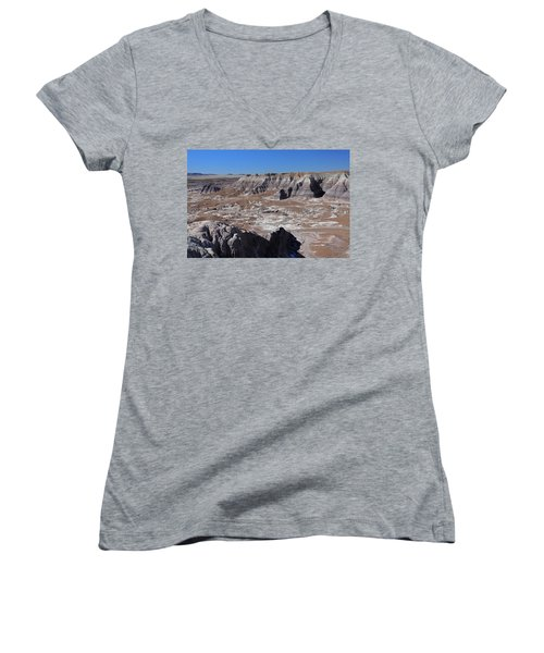 Women's V-Neck T-Shirt (Junior Cut) featuring the photograph Blue Mesa by Gary Kaylor