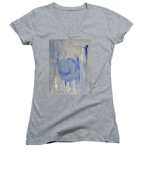 Women's V-Neck T-Shirt (Junior Cut) featuring the painting Blue Moon by Victoria Lakes