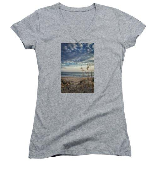 Blue Morning Women's V-Neck T-Shirt (Junior Cut) by David Cote