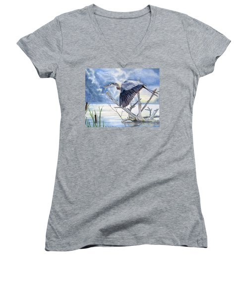 Blue Morning Flight Women's V-Neck (Athletic Fit)