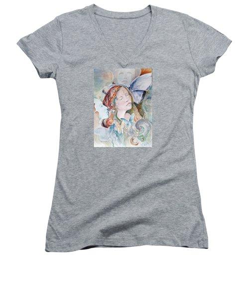 Blue Morpho Women's V-Neck T-Shirt (Junior Cut)