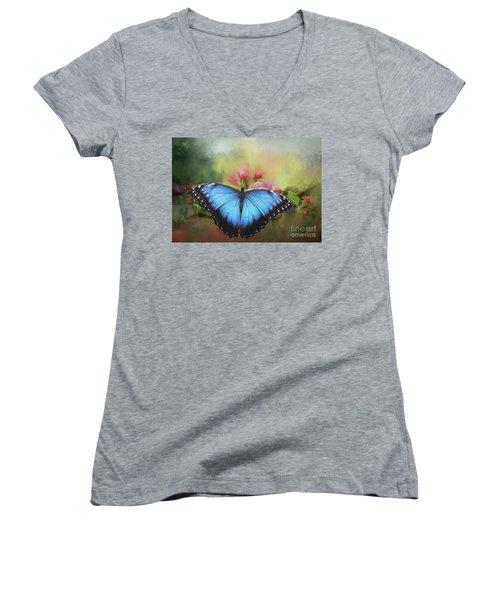 Blue Morpho On A Blossom Women's V-Neck T-Shirt (Junior Cut) by Eva Lechner