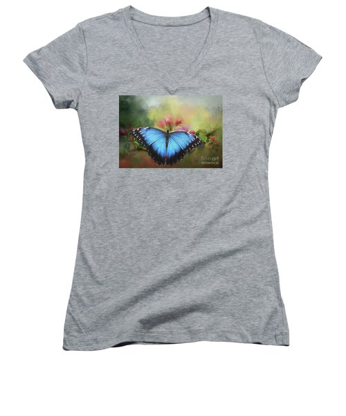 Blue Morpho On A Blossom Women's V-Neck (Athletic Fit)