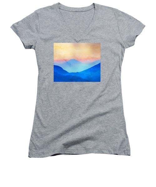 Blue Mountains Watercolour Women's V-Neck