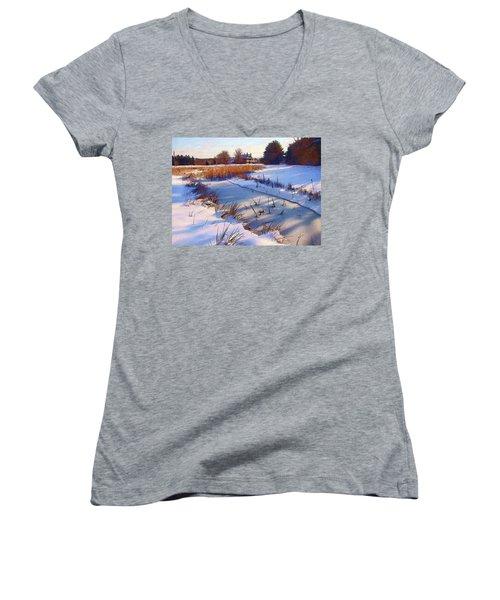 Blue Noon Women's V-Neck T-Shirt (Junior Cut) by Betsy Zimmerli