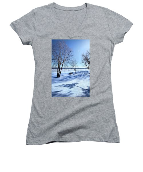 Women's V-Neck T-Shirt (Junior Cut) featuring the photograph Blue On Blue by Phil Koch