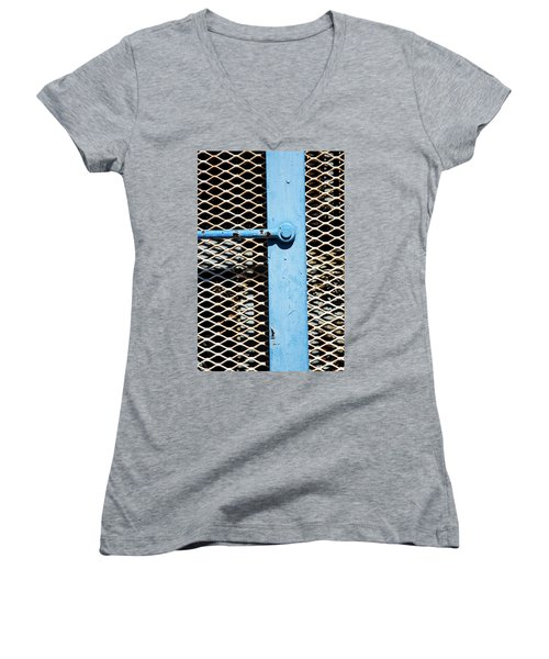 Women's V-Neck T-Shirt (Junior Cut) featuring the photograph Blue On White by Karol Livote
