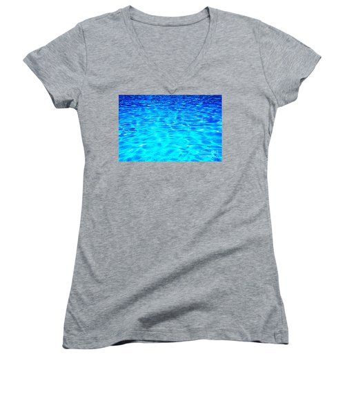Women's V-Neck T-Shirt (Junior Cut) featuring the photograph Blue Or Green by Ramona Matei