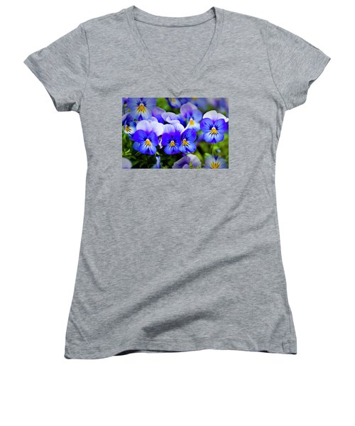 Women's V-Neck T-Shirt (Junior Cut) featuring the photograph Blue Pansies by Tamyra Ayles