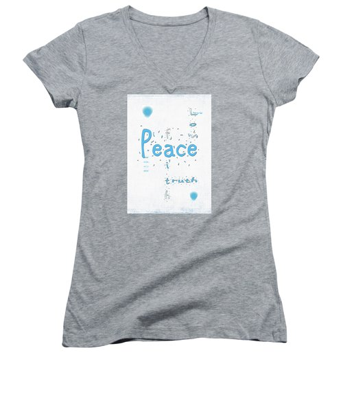 Blue Peace Women's V-Neck T-Shirt (Junior Cut) by Linda Prewer