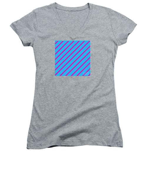 Blue Pink Angled Stripes Abstract Women's V-Neck T-Shirt
