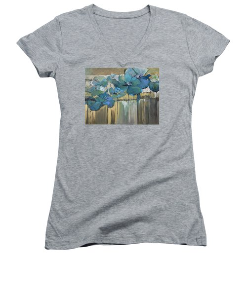 Women's V-Neck T-Shirt (Junior Cut) featuring the painting Blue Poppies by Eleatta Diver