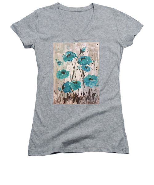 Women's V-Neck T-Shirt (Junior Cut) featuring the painting Blue Poppies by Lucia Grilletto