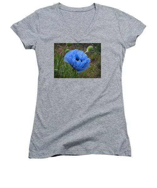 Blue Poppy Women's V-Neck (Athletic Fit)