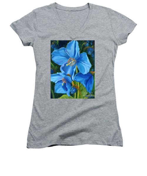 Blue Poppy Women's V-Neck T-Shirt (Junior Cut) by Renate Nadi Wesley